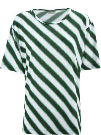 Dries Van Noten Striped White And Green Cotton T-shirt