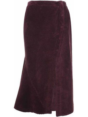 Cedric Charlier Flared Ribbed Velvet Midi Skirt