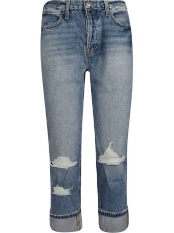 Frame Distressed Straight Leg Jeans