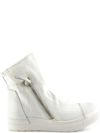 Cinzia Araia High-top Sneaker In White Leather And Fabric