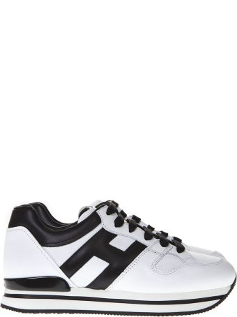 Hogan Black And White Sneakers H222 In Leather