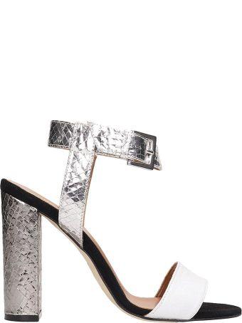 Paris Texas Silver Python Print Leather Sandals