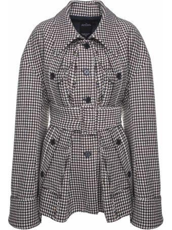 Rokh Houndstooth Wool-blend Belted Jacket