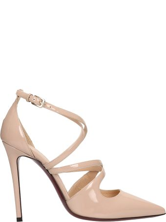Dei Mille Nude Pointed Patent Leather Sandals