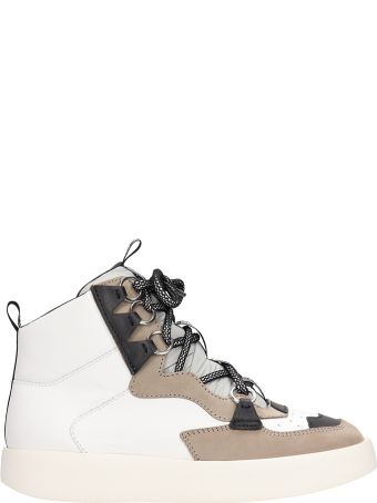 Grey Mer White-beige Leather Mid Sneakers