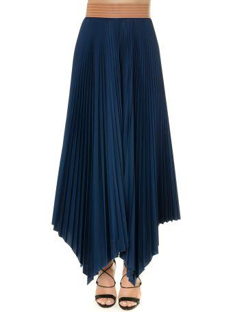 Loewe Blue Pleated Cotton Skirt