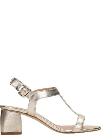 Julie Dee Gold Metal Leather Sandals