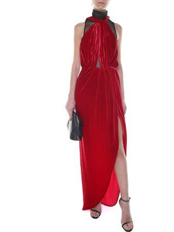 Vatanika Design Backless Silk-velvet Long Dress