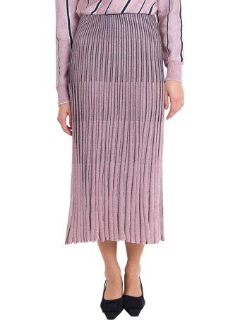 Cedric Charlier Lurex Pleated Skirt