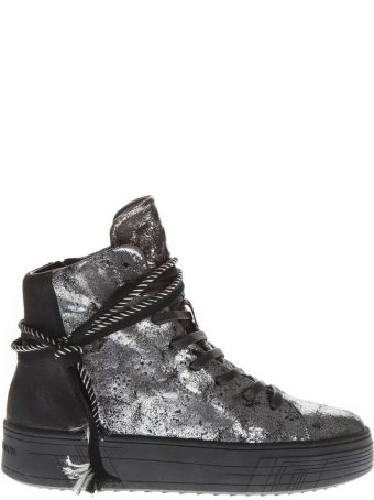 Crime london Silver Leather High-top Sneakers