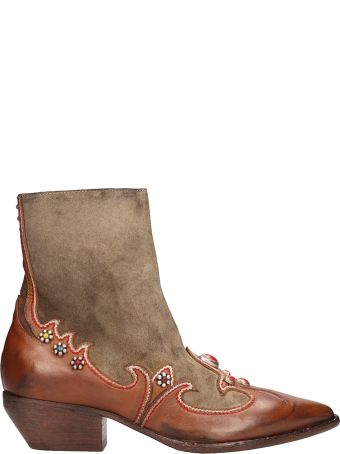 Elena Iachi Brown Leather And Suede Texan Ankle Boots