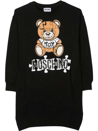 Moschino Black Dress With Frontal Toy And Logo Press