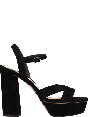 Bibi Lou Plateau Black Suede Leather Sandals