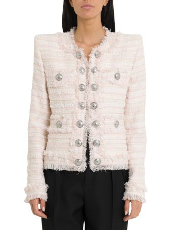 Balmain Tweed Jacket With Silver Buttons