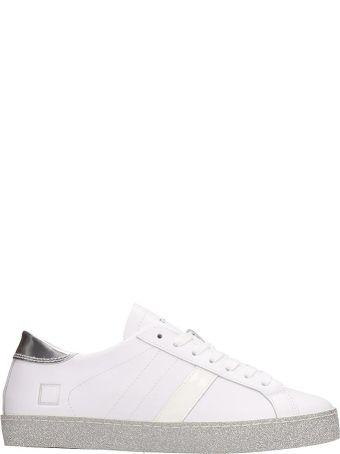 D.A.T.E. Vertigo White Silver Leather Sneakers