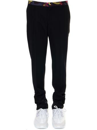 Versace Black Wool Trousers With Printed Belt