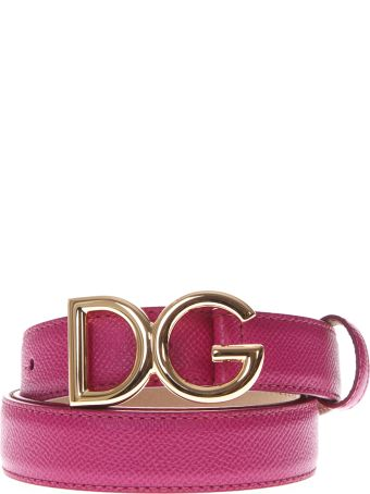 Dolce & Gabbana Dg Dark Pink Leather Belt