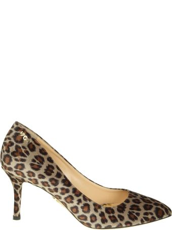 Charlotte Olympia Decollete In Velvet With Leoparded Print