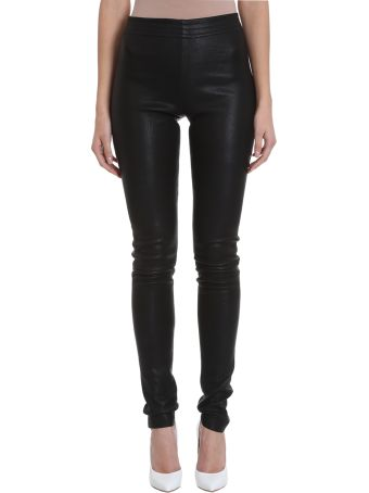 DROMe Black Leather Leggings Pants