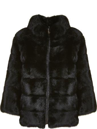 Blugirl High Neck Fur Coat