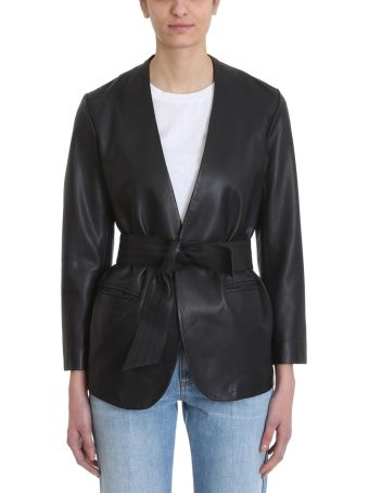 Mauro Grifoni Black Leather Blazer