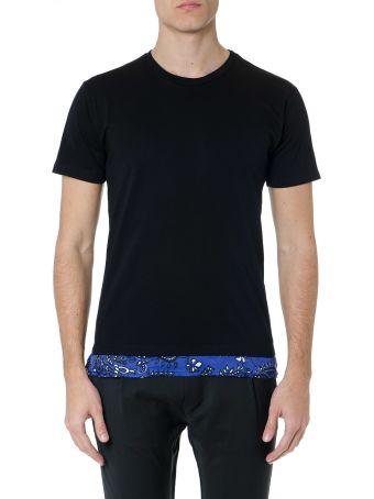 Low Brand Black Cotton T-shirt With Printed Hem