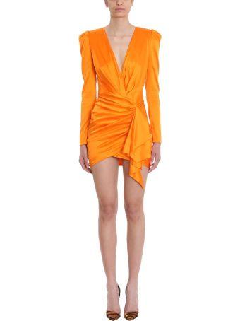 Alexandre Vauthier V-neck Draped Silk-satin Mini Dress