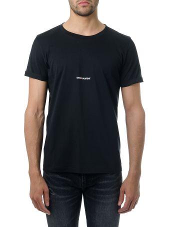 Saint Laurent Black Cotton T-shirt With Logo Print