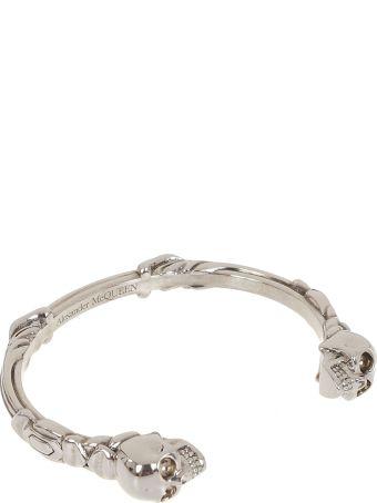 Alexander McQueen Twin Text Skull Bracelet