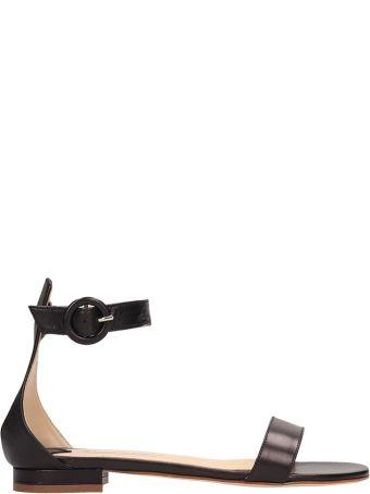Fabio Rusconi Black Leather Flats Sandals