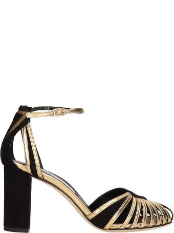Marskinryyppy Vinny Black Suede And Gold Leather Sandals