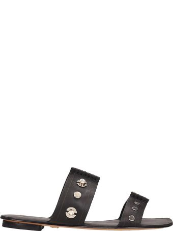 Lola Cruz Black Leather Flat Sandals