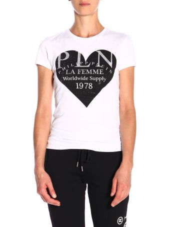 Philipp Plein T-shirt Philipp Plein Short-sleeved T-shirt With Maxi Logo Print And Rhinestones