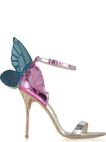 Sophia Webster Silver Mirror Leather High Heel Chiara Sandals