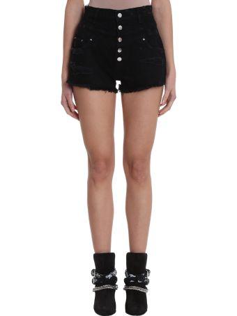 AMIRI Double Waist Black Denim Shorts