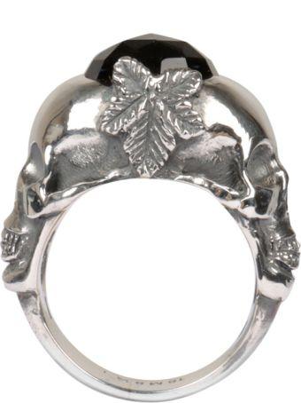 Ugo Cacciatori Double Skull Silver Ring