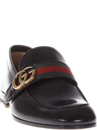 Gucci Black Leather Loafers With Web Detail And Double G