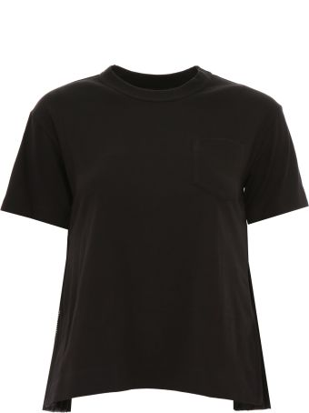 Sacai T-shirt With Plissé Inserts