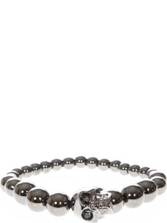 Alexander McQueen Skull Elastic Brass Pearls Bracelet