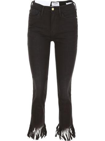 Frame Le High Straight Fringe Jeans