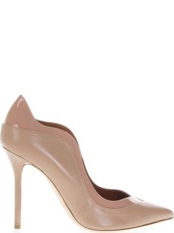 Malone Souliers High Nude Waved Pumps In Leather