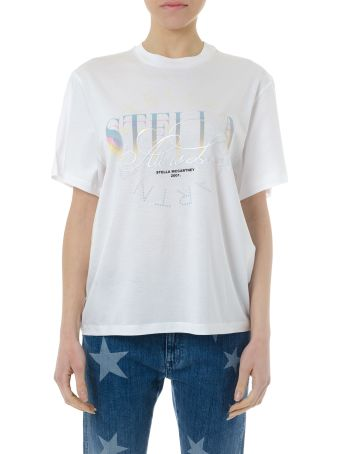 Stella McCartney White Cotton T-shirt With Multicolor Logo