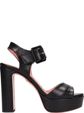 JF London Black Leather Sandals