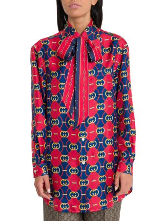 Gucci Gucci Gg Waves Tie-neck Blouse