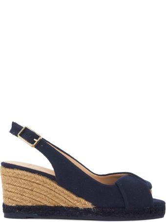 Castañer Brianda Dark Blue Natural Fabric Wedge Sandal
