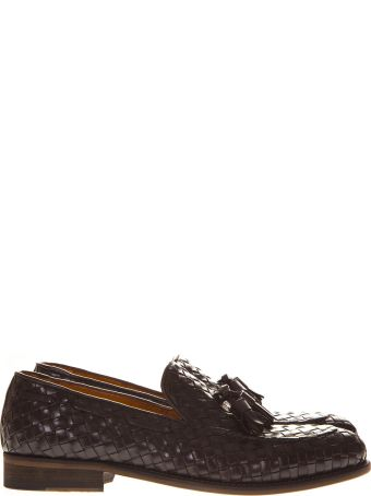 Eleventy Brown Weave Leather Loafers