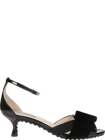 Tod's Velvet Bow Sandals