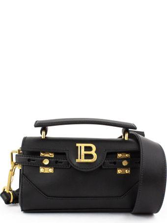 Balmain Black Calfskin B-buzz Baguette Bag