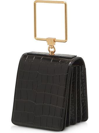 Marge Sherwood Black Croco Embossed Leather Large Pump Handle Satchel Bag