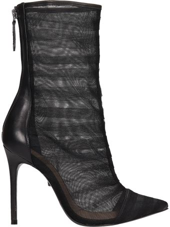 Schutz Tulle Black Leather Ankle Boots